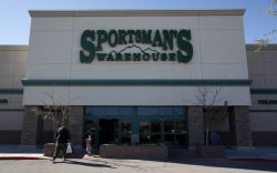 Customers leave the Sportsman's Warehouse in