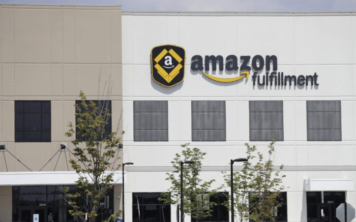 General scenes outside the Amazon Fulfillment center in Robbinsville Township, N.J., Tuesday, Aug. 1, 2017. Amazon held a nation-wide job fair at its warehouses on Aug. 2. (AP Photo/Julio Cortez)