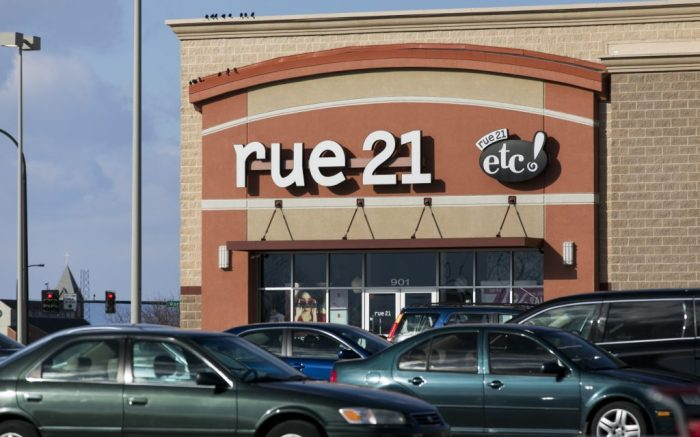 A logo sign outside of a rue21 retail store location in Chambersburg, Pennsylvania on January 25, 2019. (Photo by Kristoffer Tripplaar/Sipa USA)(Sipa via AP Images)
