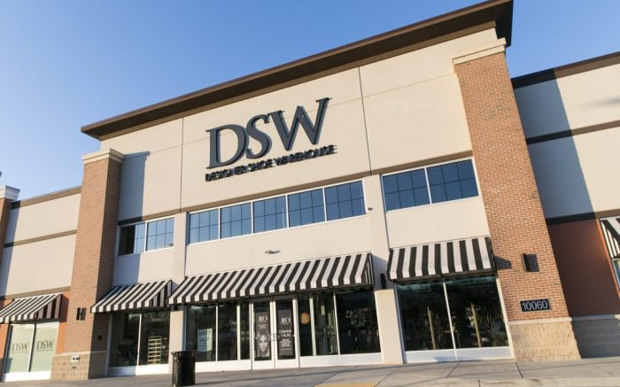A logo sign outside of a Designer Shoe Warehouse (DSW) retail store location in Owings Mills, Maryland on February 21, 2020. (Photo by Kristoffer Tripplaar/Sipa USA)(Sipa via AP Images)
