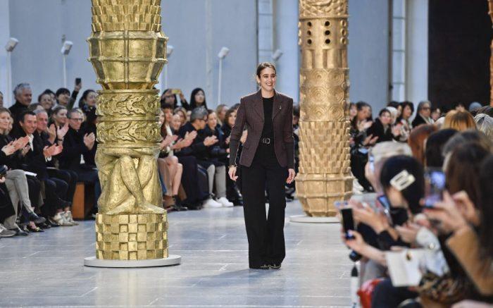 Designer Natacha Ramsay-Levi walks on the runway at the Chloe fashion show during Fall / Winter 2020 / 2021 Fashion Week in Paris, France on Feb. 27, 2020. (Photo by Jonas Gustavsson/Sipa USA)(Sipa via AP Images)