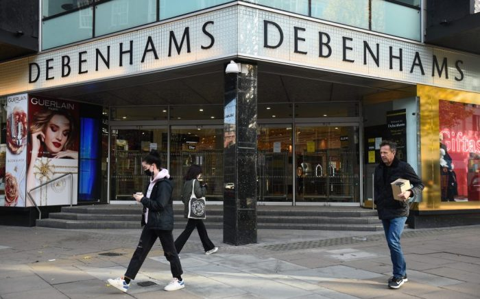 "Debenhams faces liquidation. Debenhams in Oxford Street, London, the 242-year-old department store chain said its administrators have ""regretfully"" decided to start its liquidation process, while continuing to seek offers. Picture date: Tuesday December 1, 2020. Debenhams said it will continue to trade through its 124 UK stores and online to clear its current and contracted stocks. See PA story CITY Debenhams. Photo credit should read: Kirsty O'Connor/PA Wire URN:56885329 (Press Association via AP Images)"
