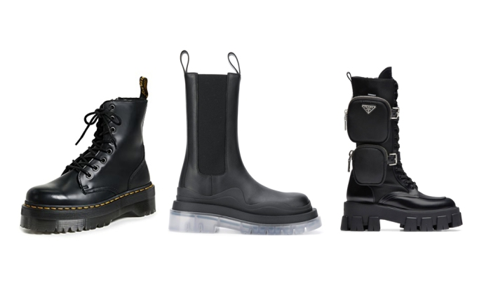 lug sole boots, apocalyptic boots, heavy boots, platform boots, boot trend, 2020 shoe trends, 2020 boots,