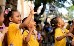 Photo of children playing after receiving