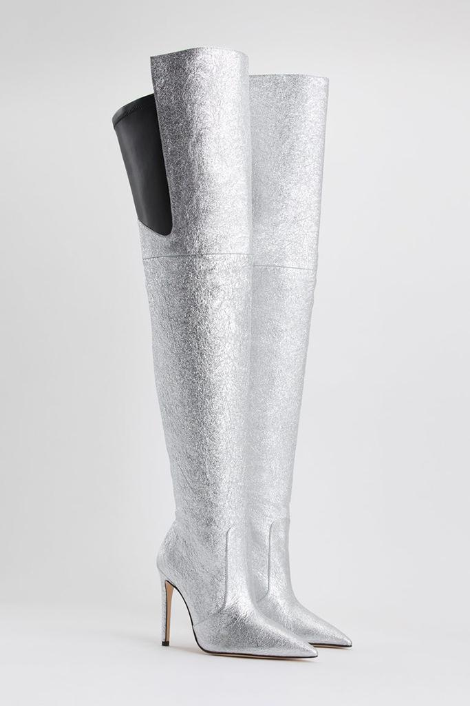 good american boot, silver thigh high boot, khloe kardashian boots