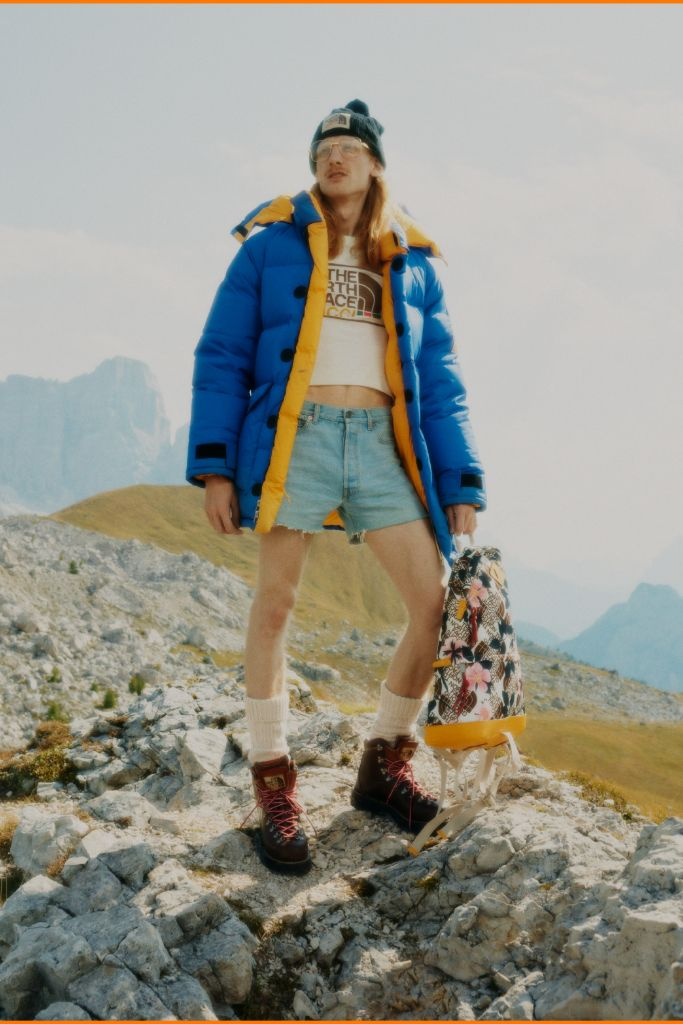 gucci, the north face, gucci north face, fashion collaboration, hiking, hiking boots, hikers