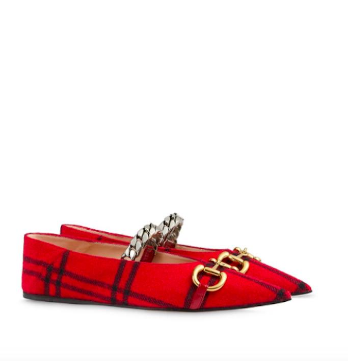 Gucci-Red-Checkered-Ballet-Flats