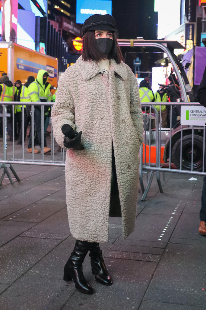 Lucy Hale is seen at the 'Dick Clark's New Year's Rockin' Eve' 2021 at Times Square in New York City. NON-EXCLUSIVE December 29, 2020. 29 Dec 2020 Pictured: Lucy Hale. Photo credit: Jose Perez/Bauergriffin.com / MEGA TheMegaAgency.com +1 888 505 6342 (Mega Agency TagID: MEGA723492_003.jpg) [Photo via Mega Agency]