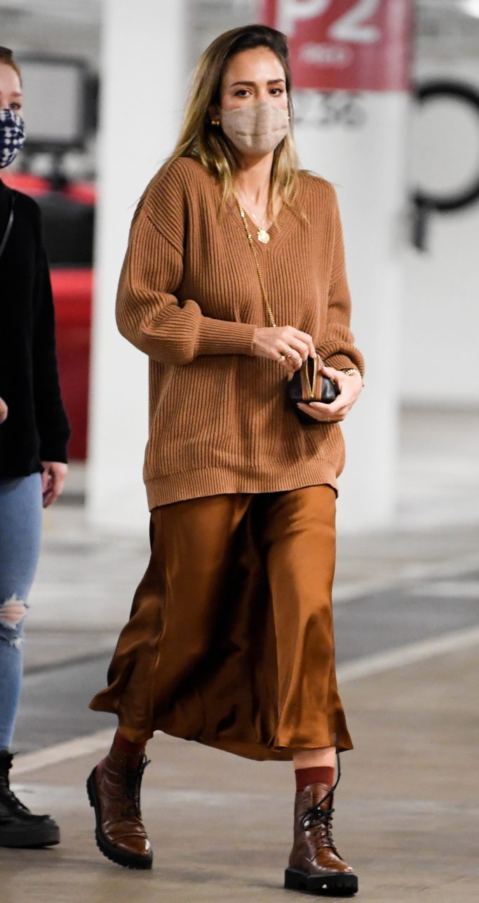 Jessica Alba, dear frances, brown lace up boots