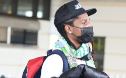 EXCLUSIVE: Rapper ASAP Rocky arrives in