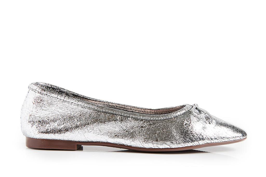schutz ballet flats, silver ballet flats, metallic ballet flats