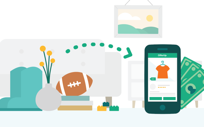 Reselling graphic of home items being sold online through the offerup ecommerce marketplace