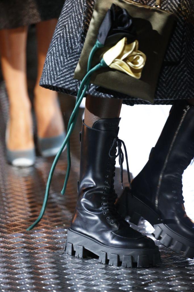 prada, prada fall 2019, fall 2019, 2020 boot trends, boot trends, combat boots, lug soled boots