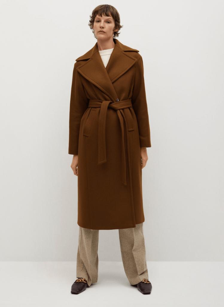 wool coat, brown, wrap, mango