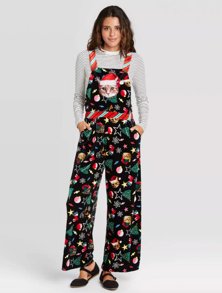 christmas overall, ugly, cats