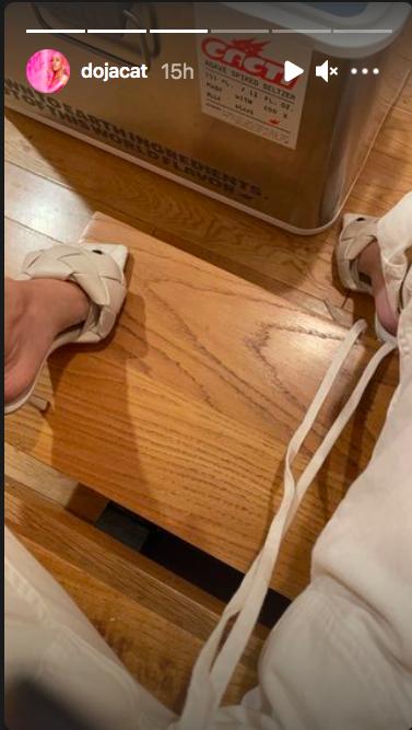 doja cat, bottega veneta lido sandals