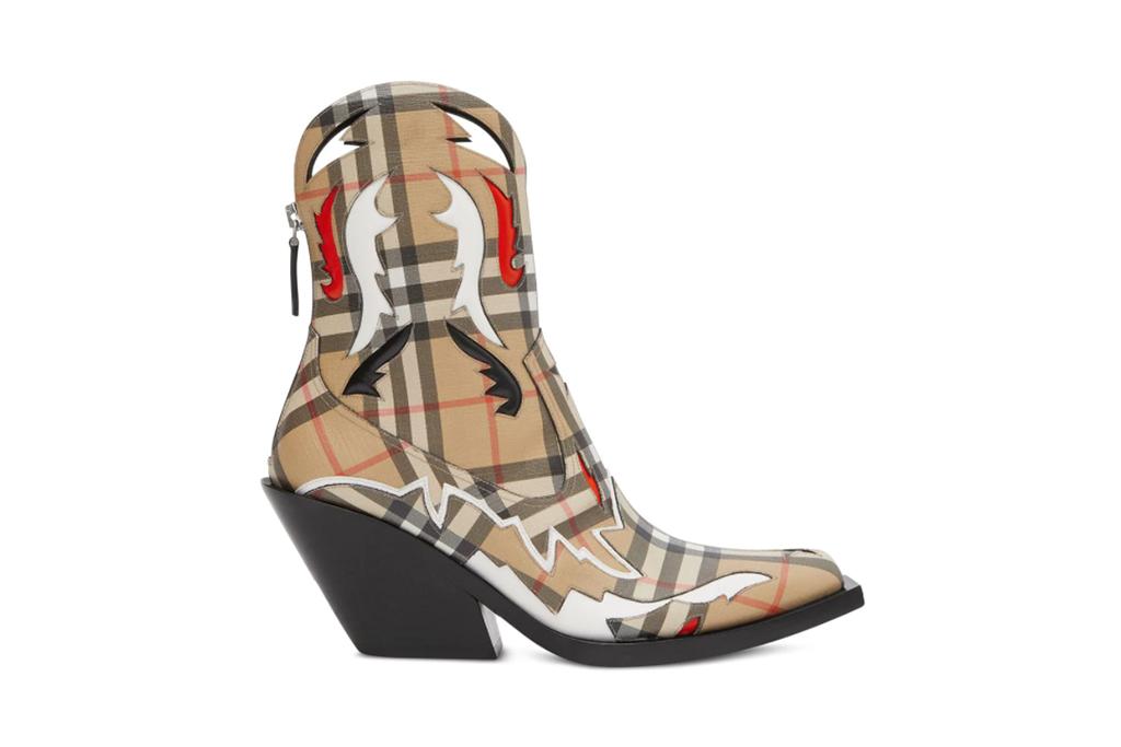 BURBERRY Beige Check Matlock Boots, bella hadid burberry boots, burberry western boots