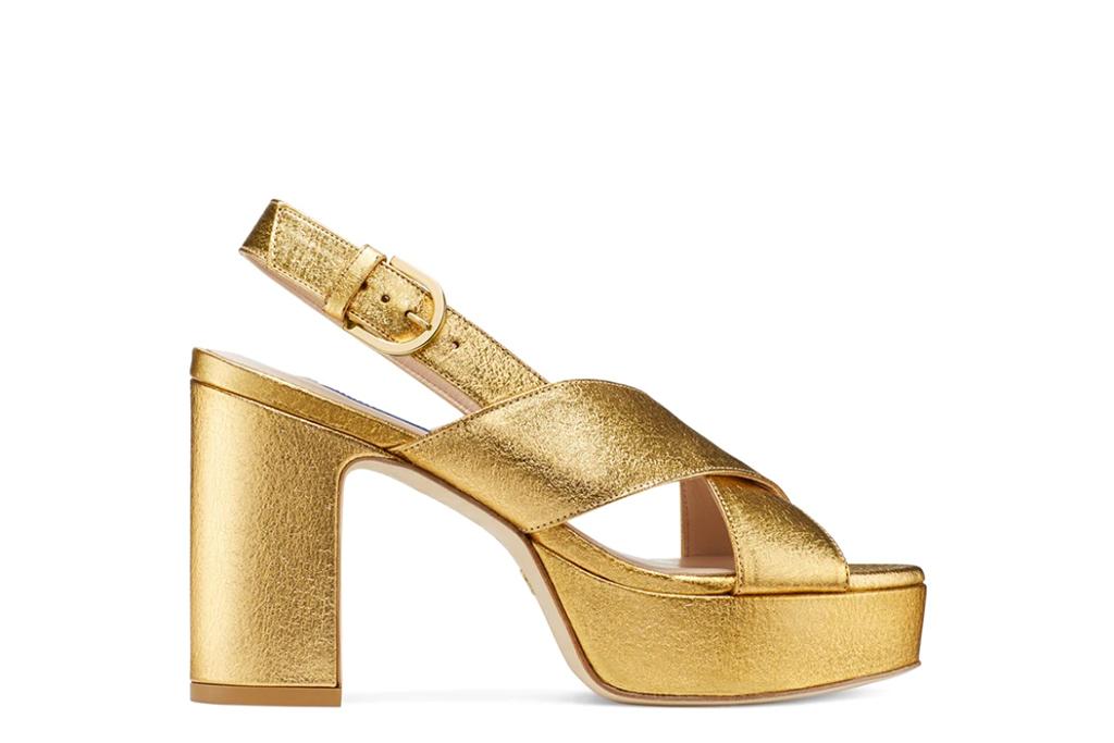 stuart weitzman platforms, gold platform heels, stuart weitzman sale