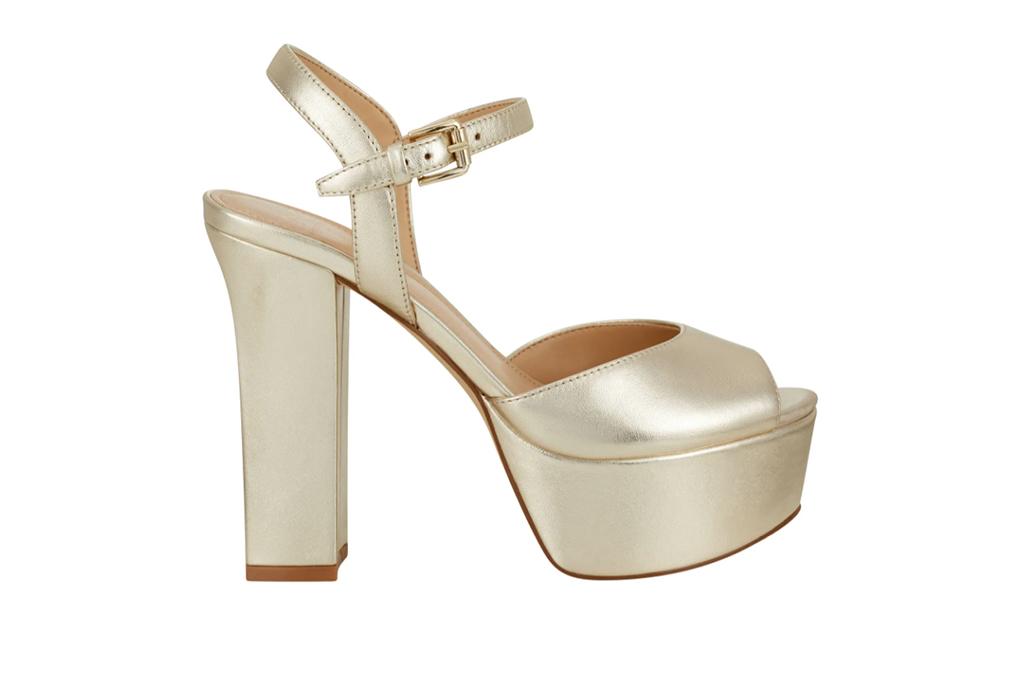 Marc Fisher platform heel, gold platform sandals, gold sandals