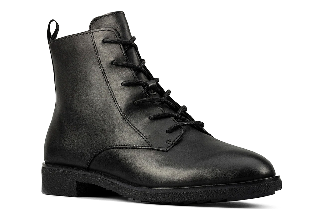 clarks boot, black leather boot, ankle lace up boot