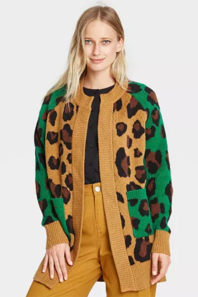 leopard cardigan, whowhatwear sweater, leopard sweater