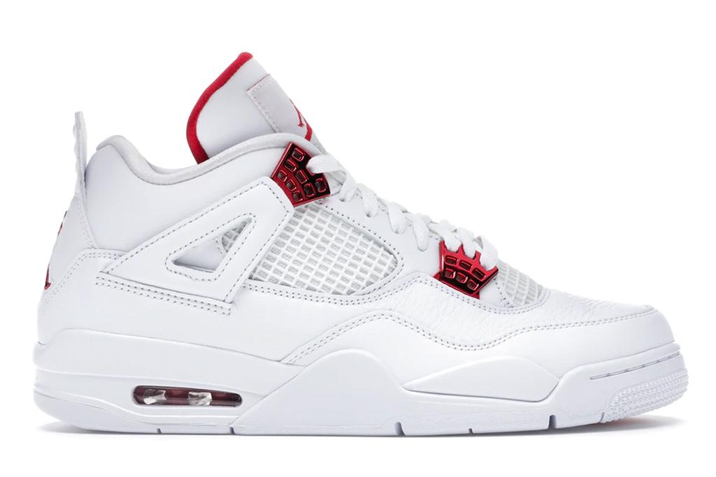 air jordan, 4, sneakers, red, white, metallic