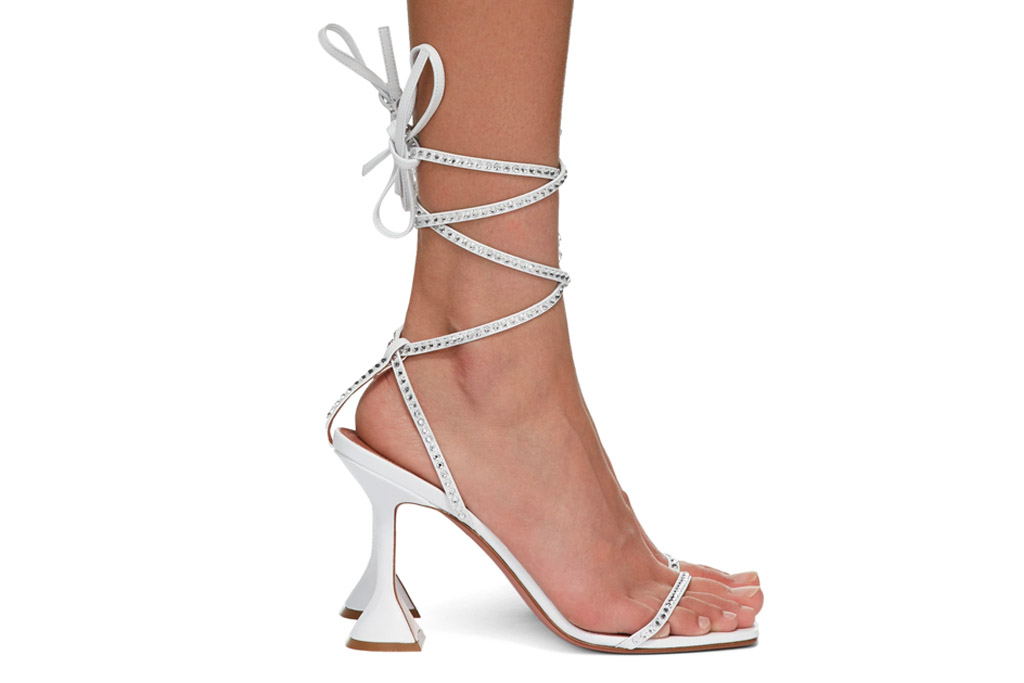 amina muaddi, heels, ankle wrap, white, vita