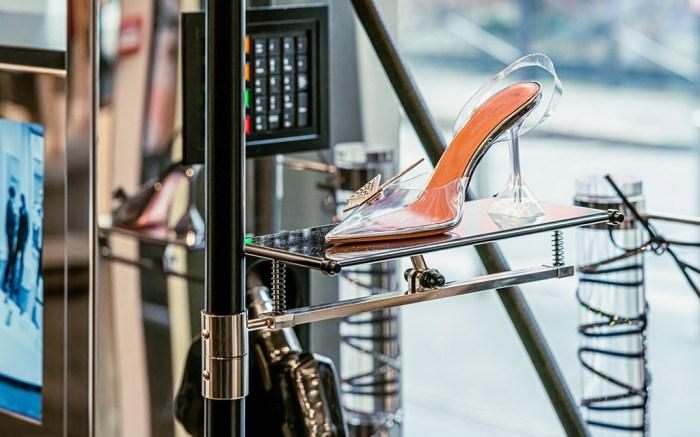 amina muaddi, awge, shoes, display
