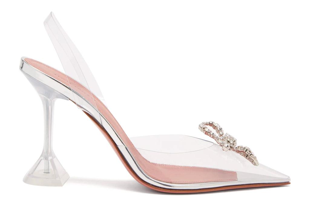amina muaddi, heels, pvc, glittering