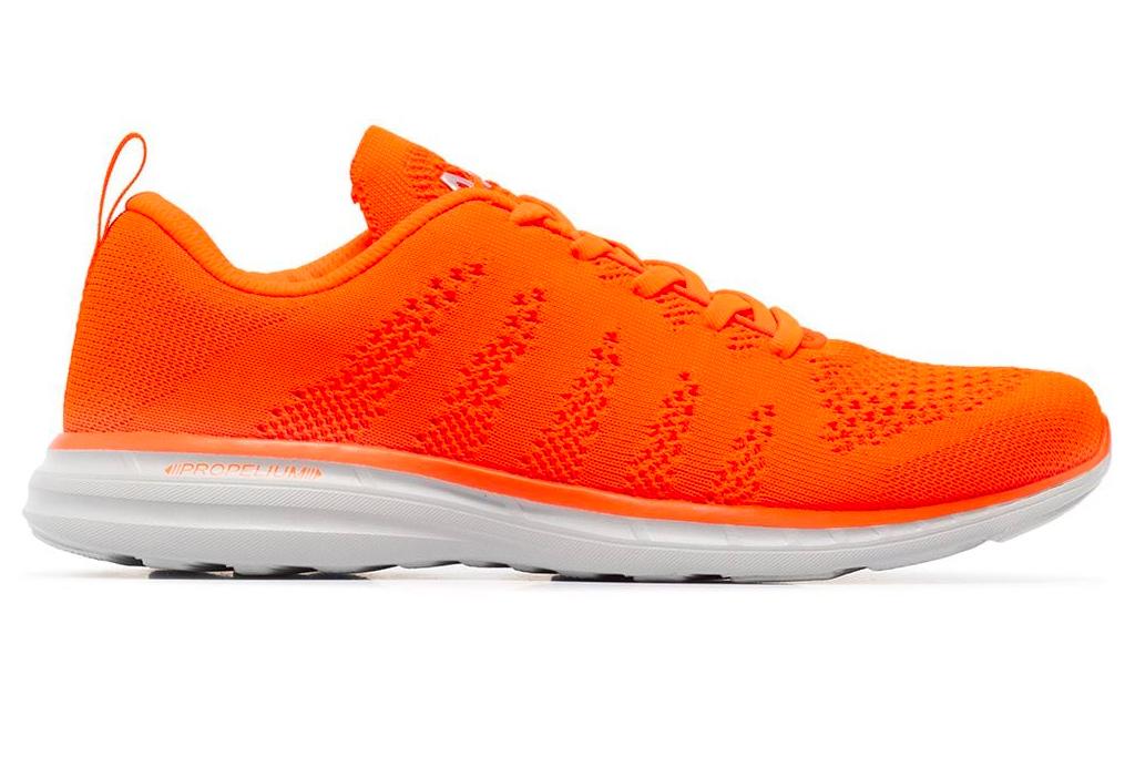 sneakers, running shoes, orange, neon, red, apl