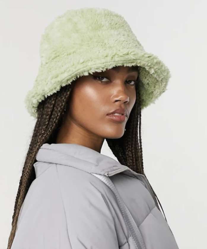 green hat, bucket, fuzzy, asos
