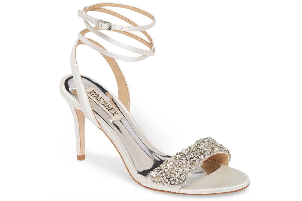 sandals, glitter, ankle wrap, badgley mischka