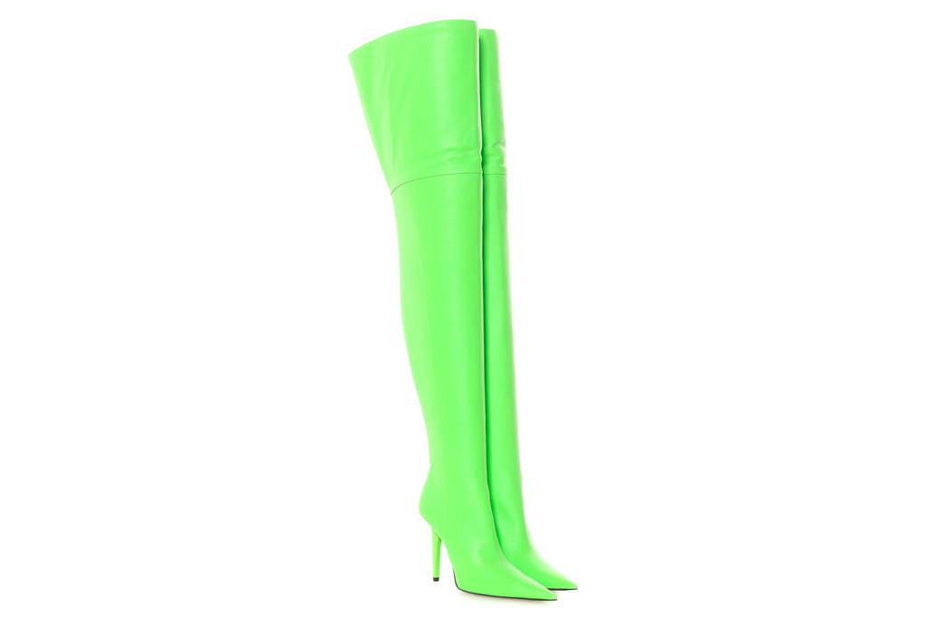 balenciaga, boots, neon green, thigh high