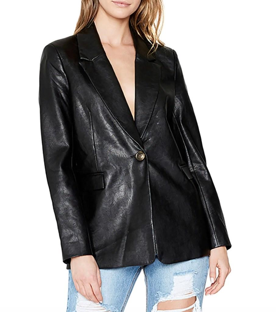 bardot, blazer, leather