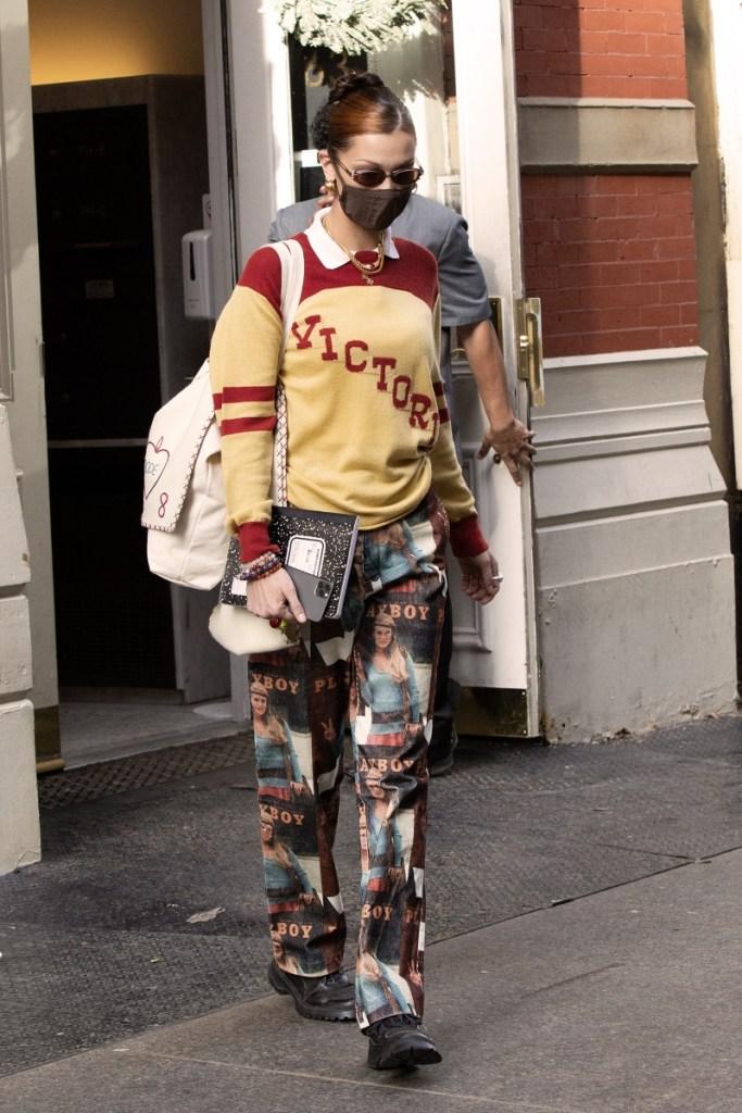 bella hadid, pants, playboy, sneakers, brogues, shirt, collar, new york, mask, skims