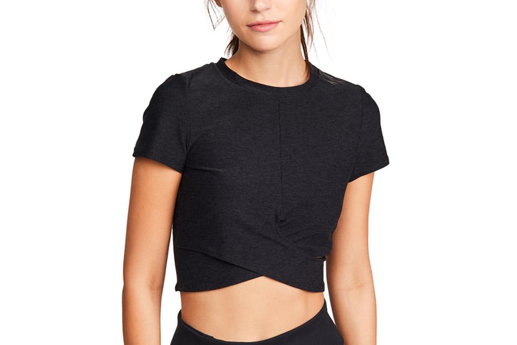 black crop top, workout, short slevee