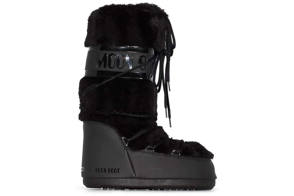 black boots, faux fur, snow boots, moon boot