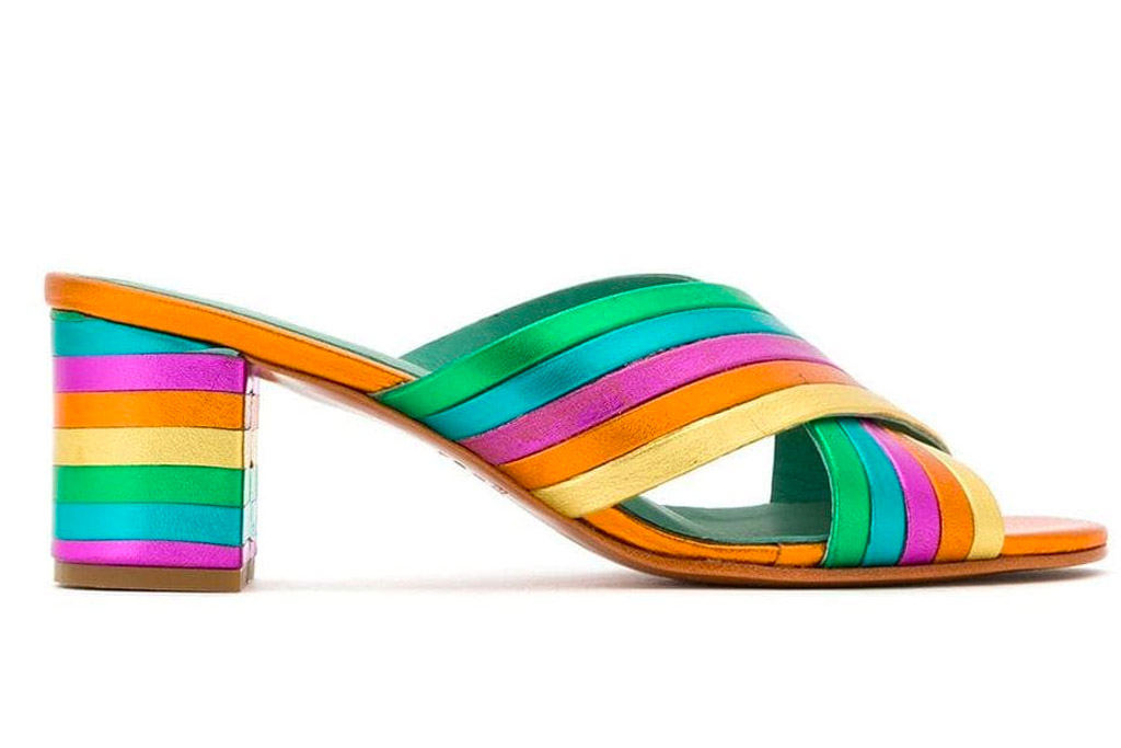 rainbow heels, blue bird