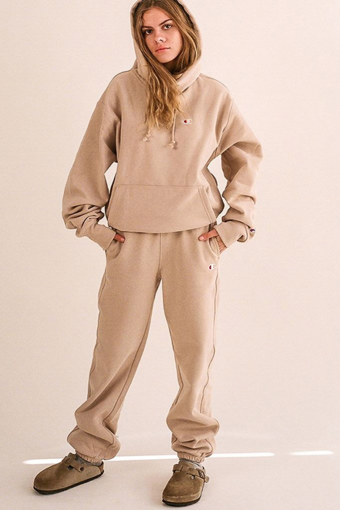champion, sweatshirt, sweatsuit, pants, tan