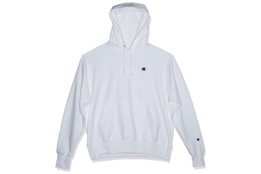 champion, hoodie, white, logo