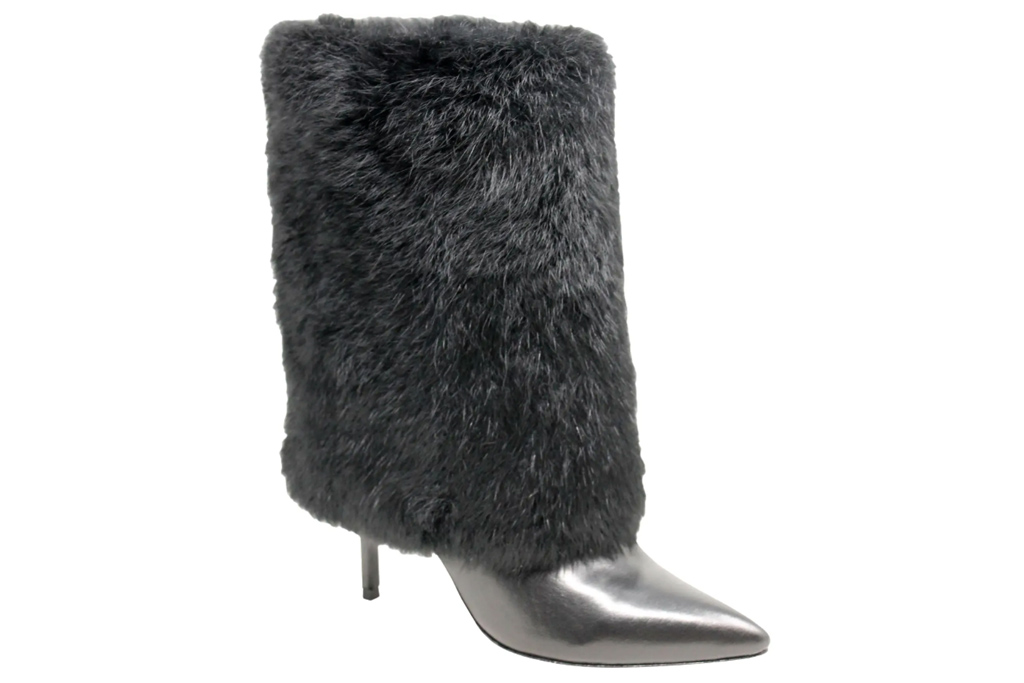 black boots, fur, charles david
