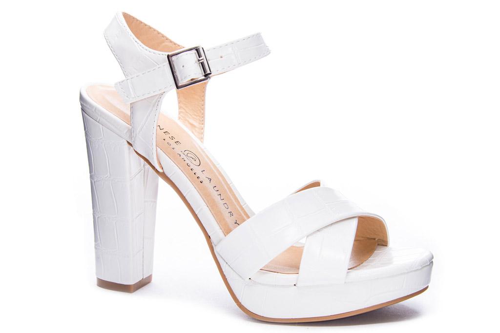 white sandals, heels, platform, chinese laundry