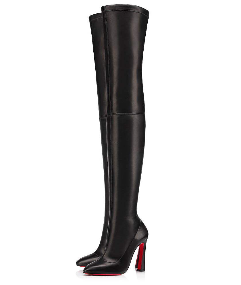christian louboutin, thigh high boots, leather