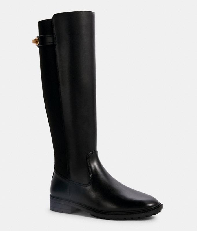 black boots, riding boot, rain boot, coach