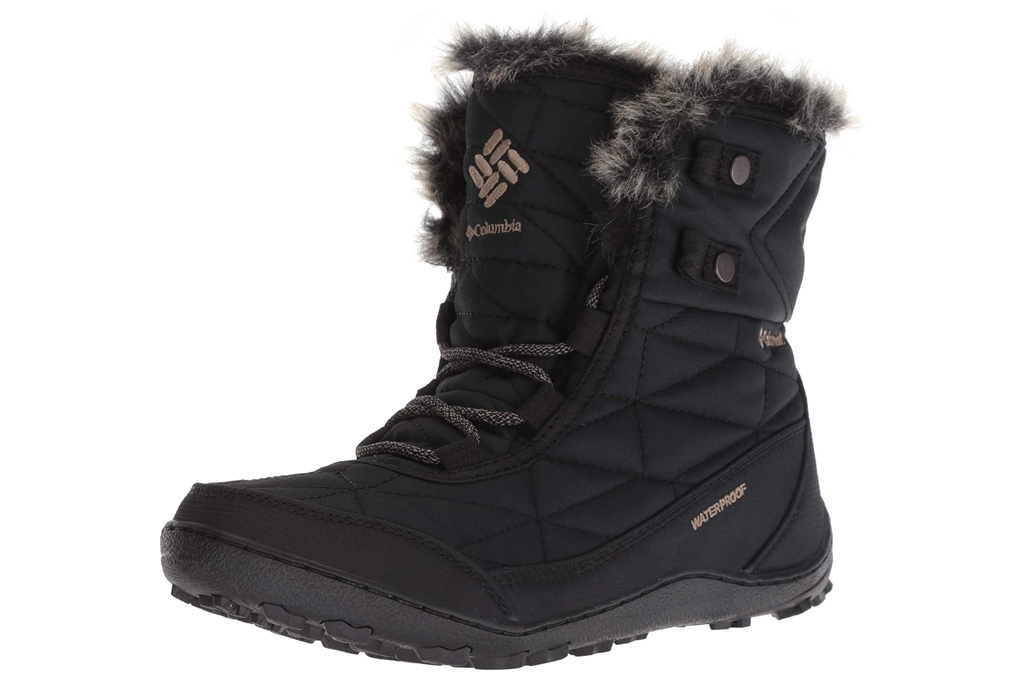 black boots, faux fur, snow boots, columbia