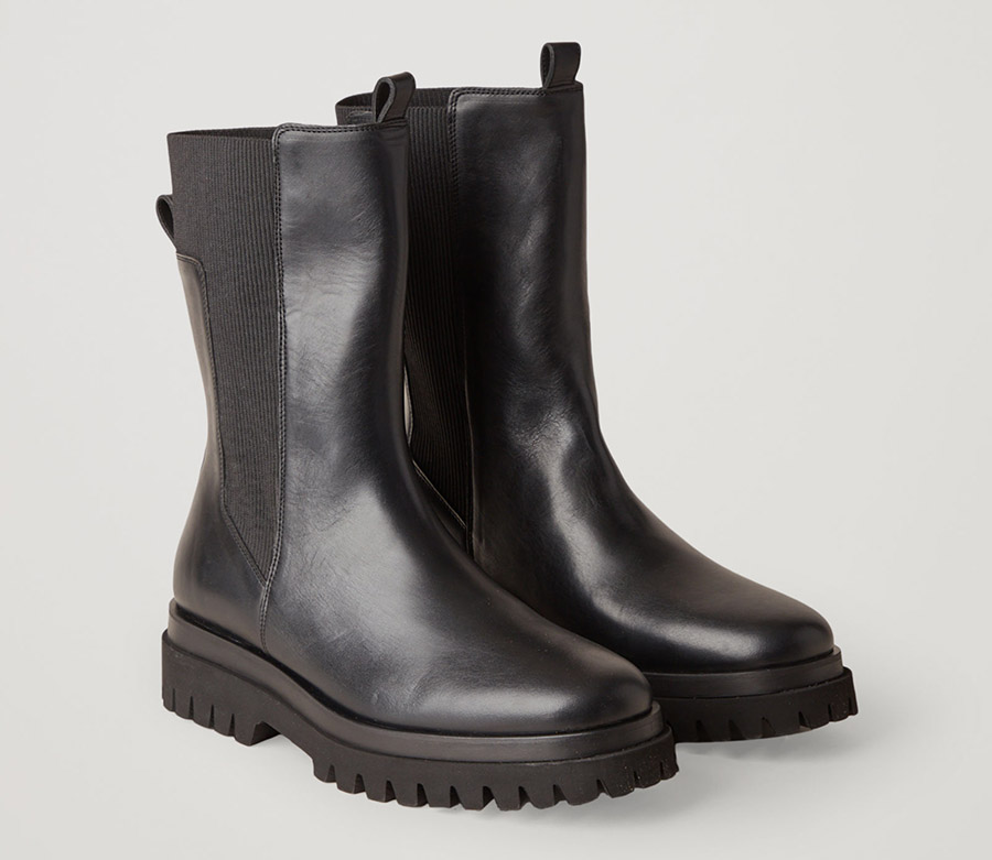 black boots, leather, chunky, cos