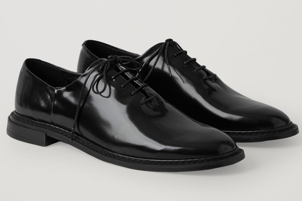 oxfords, brogues, glossy, black, cos
