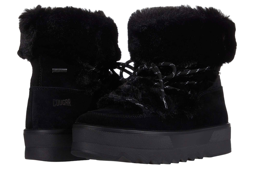 black boots, faux fur, snow boots, cougar
