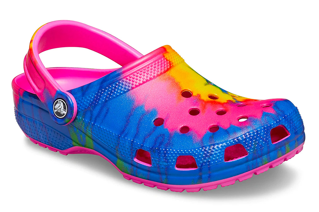 crocs, clogs, tie dye