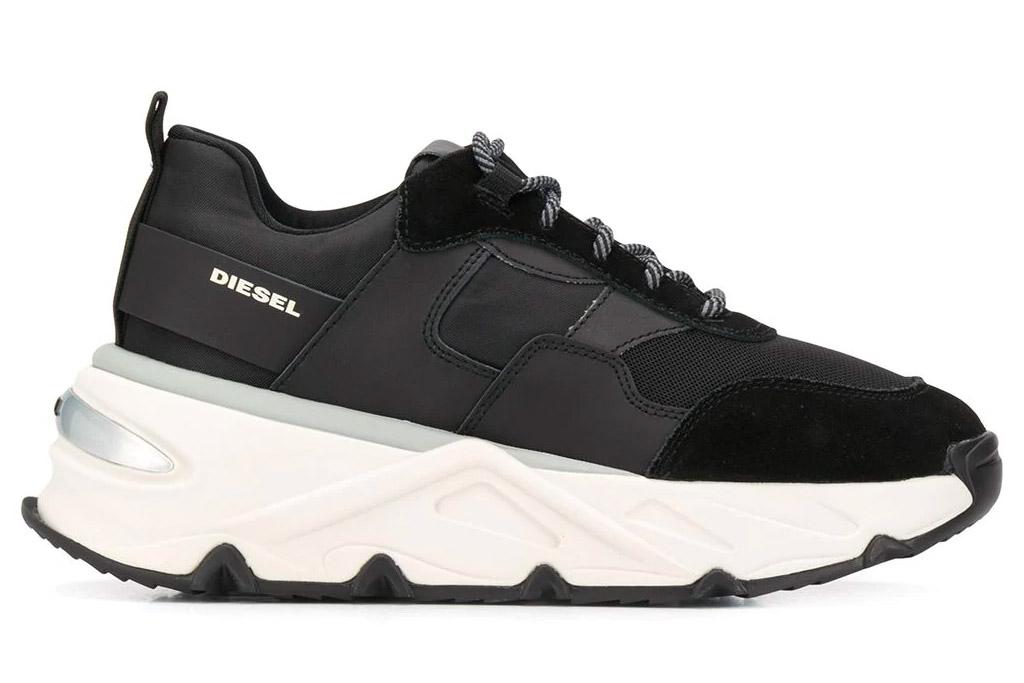sneakers, black, white, shoes, diesel